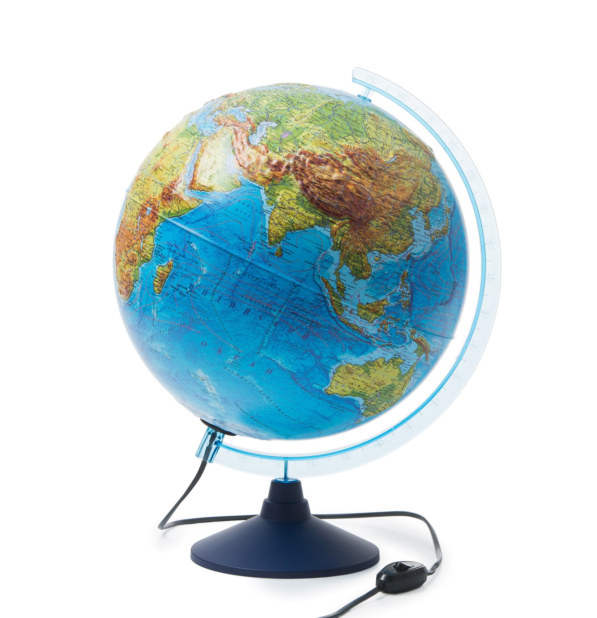 Глобус интерактивный физико-политический 320мм рельефный с подсветкой
