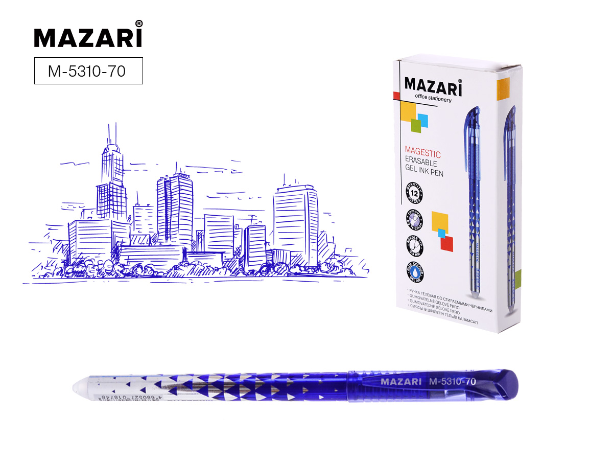 Ручка коррект. гел. Mazari Magestic 0,5мм игол.нак. син.