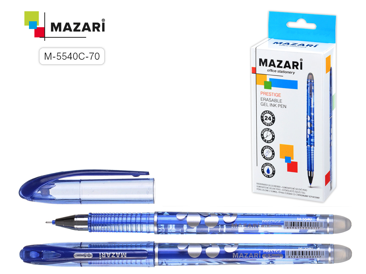 Ручка коррект. гел. Mazari Prestige 0,5мм игол.нак. син.