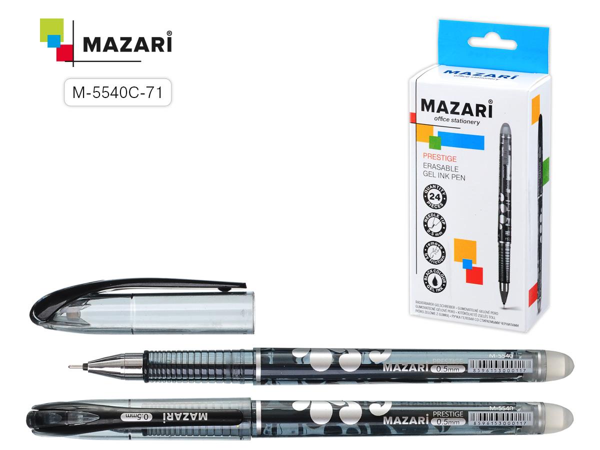 Ручка коррект. гел. Mazari Prestige 0,5мм игол.нак. черная