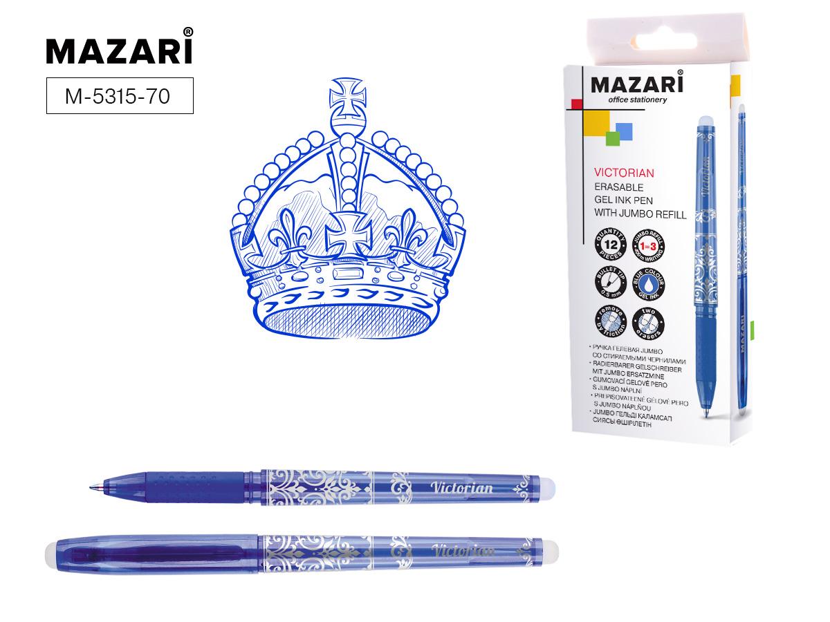 Ручка коррект. гел. Mazari Victorian 0,5мм син.