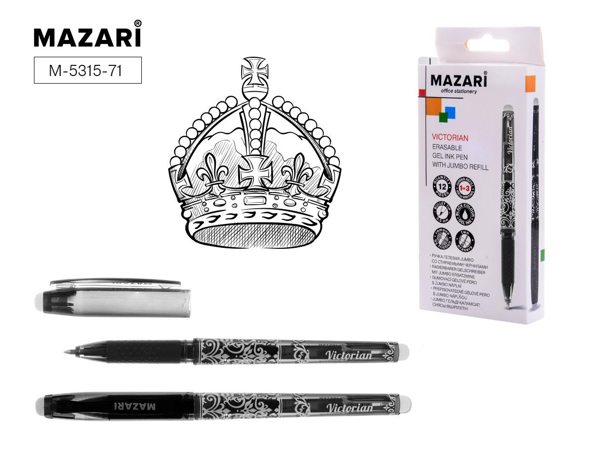 Ручка коррект. гел. Mazari Victorian 0,5мм черная