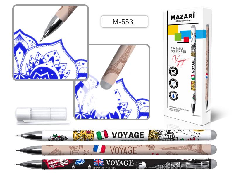 Ручка коррект. гел. Mazari Voyage 0,5мм игол.нак. син.