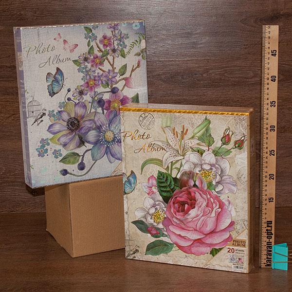 фотоальбом магнитный 20листов22,5*31,5см. цветы 2вида