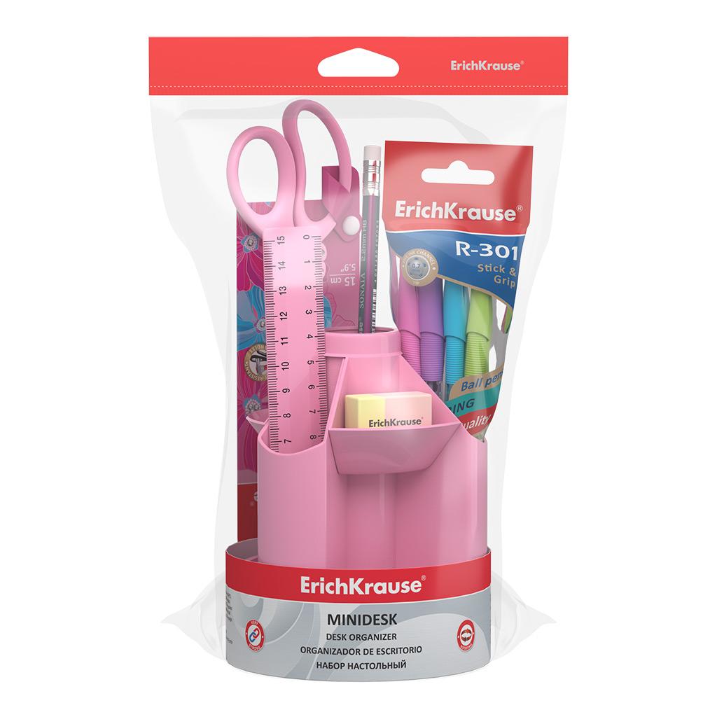 Наст. набор ErichKrause  8 предм. Mini Desk Pastel розовый