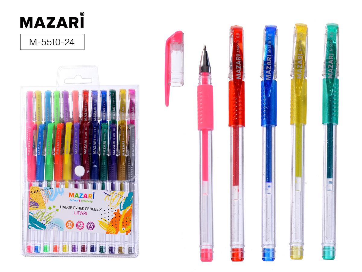 Ручки гел. в наборе Mazari 24цв. Lipari аромат.