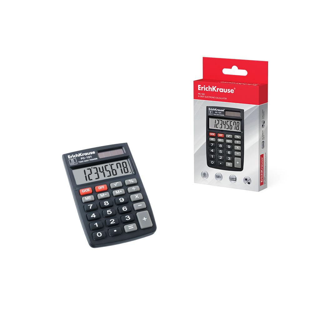 Калькулятор карм. ErichKrause PC-101 8-разр. черный