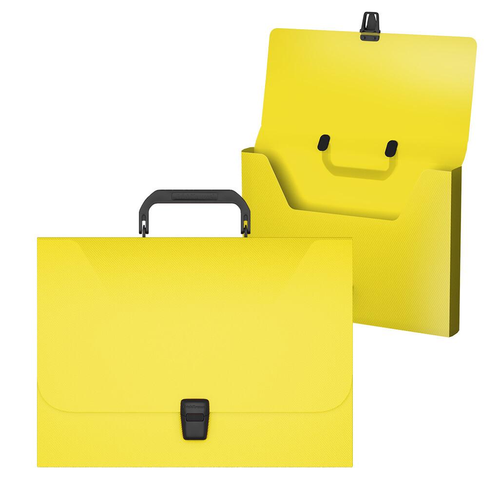 Портфель пласт. ErichKrause А4 Matt Pastel желтый с черной ручкой