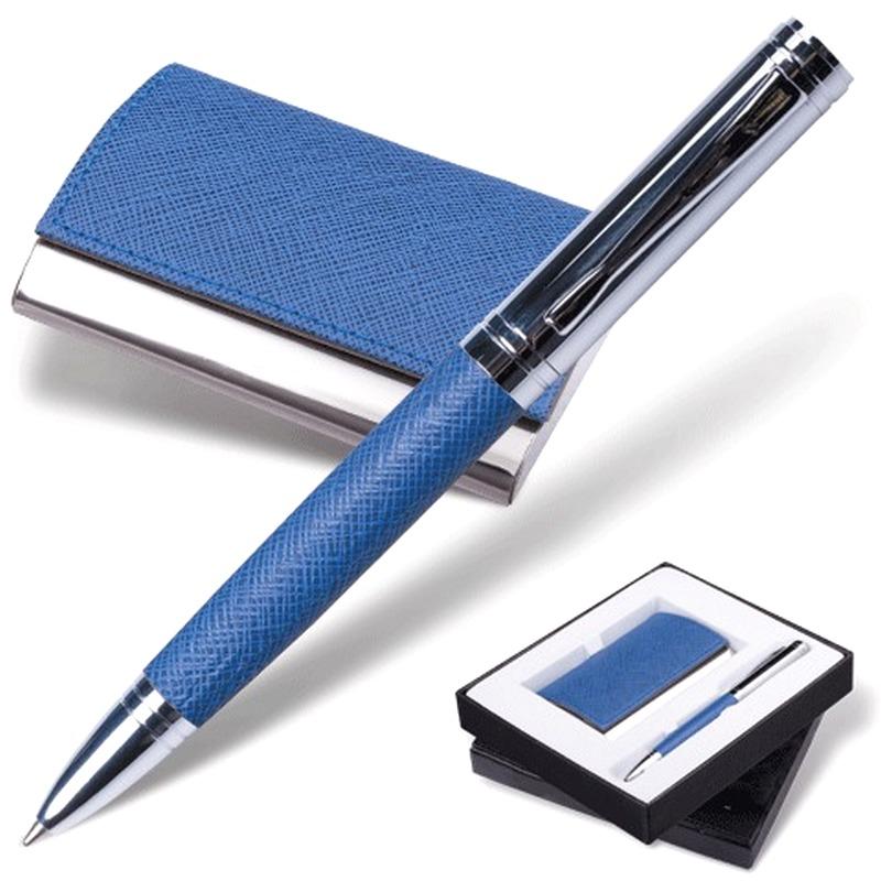 "Набор Galant ручка+визитница синий ""фактурная кожа"""