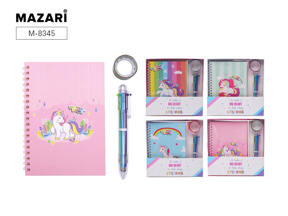 Набор Mazari Magic Unicorn блокнот 12*17 38л+ ручка авт. 6цв