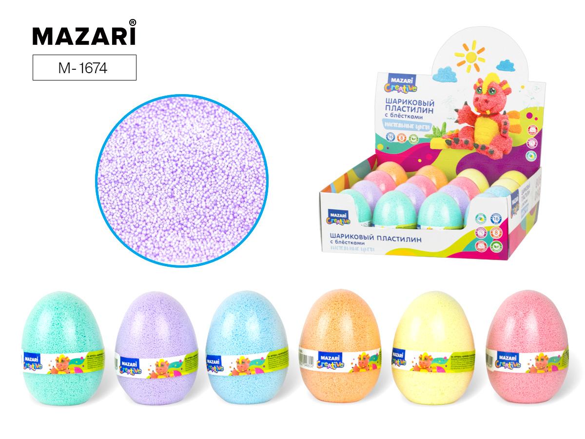 Пластилин шариковый Mazari мелкозернистый с блестк. пастельные цв. в яйце