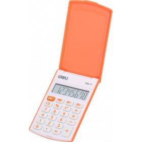 Калькулятор карм. Deli 8-разр. оранжевый с крышкой