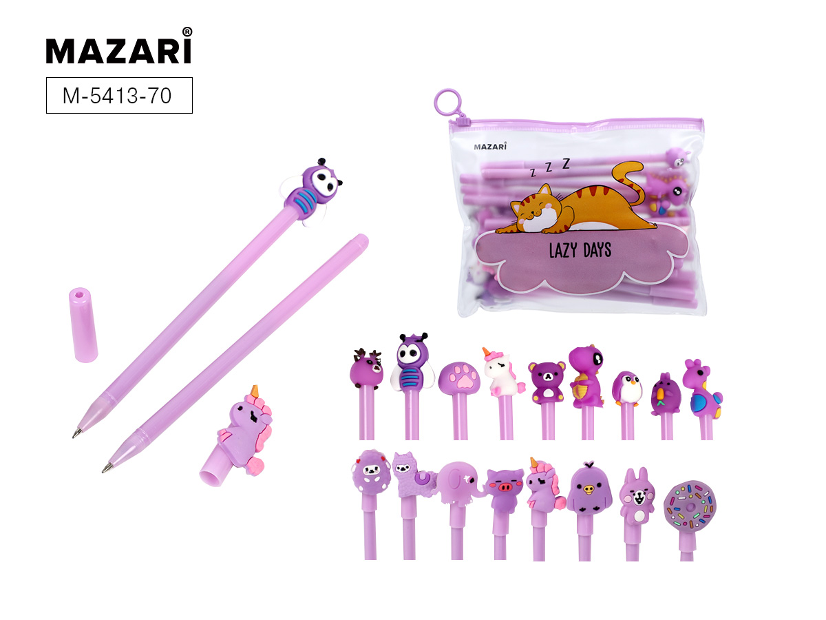 Ручки шар. в наборе Mazari Cartoon purple 20шт син. в пенале