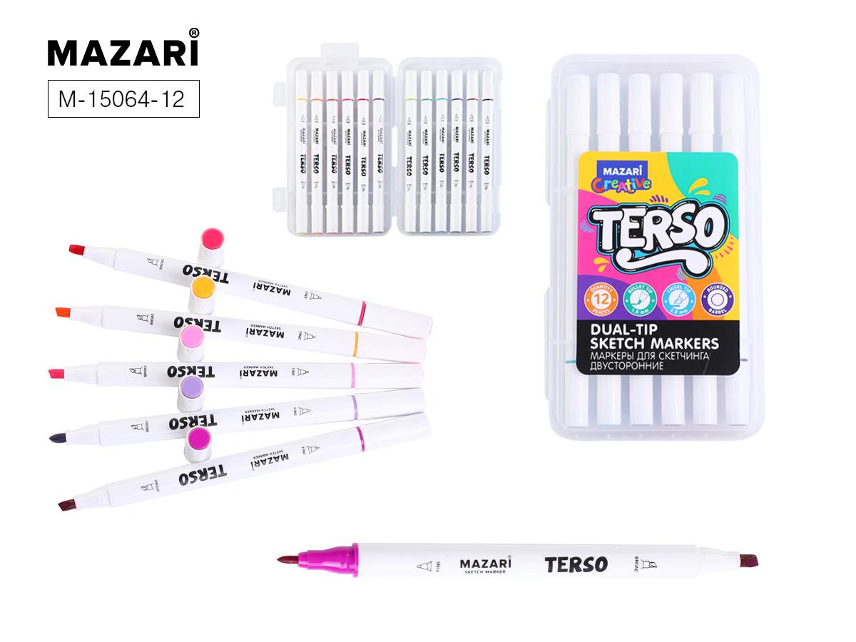 Маркеры д/скетчинга Terso 12цв. 1-4мм пастель+флуорисц. Цвета