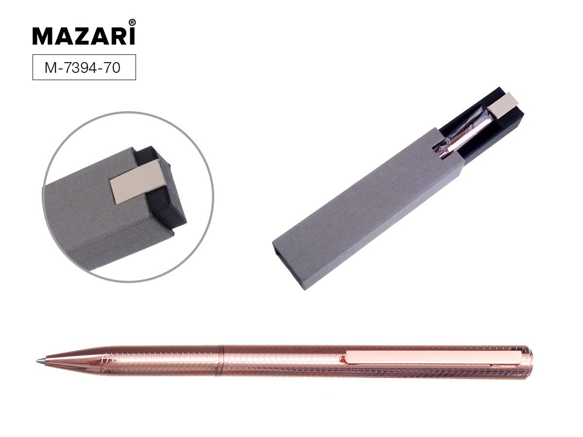 Ручка Mazari поворот.мех. Afina 0,7мм розовое золото мет. корпус синяя