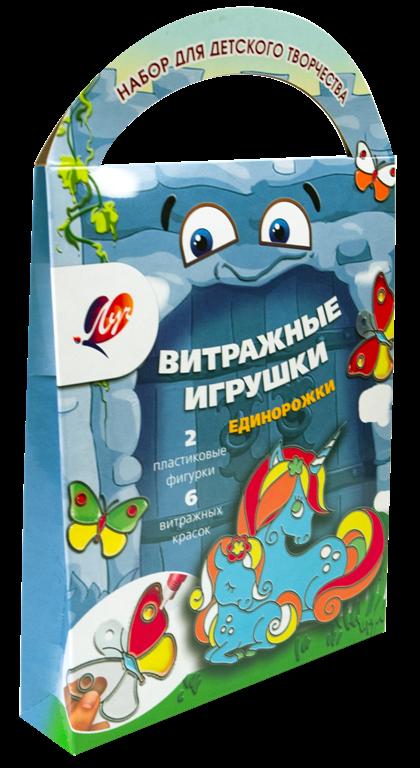 """Краски витражные с трафаретом """"Единорожки"""""""