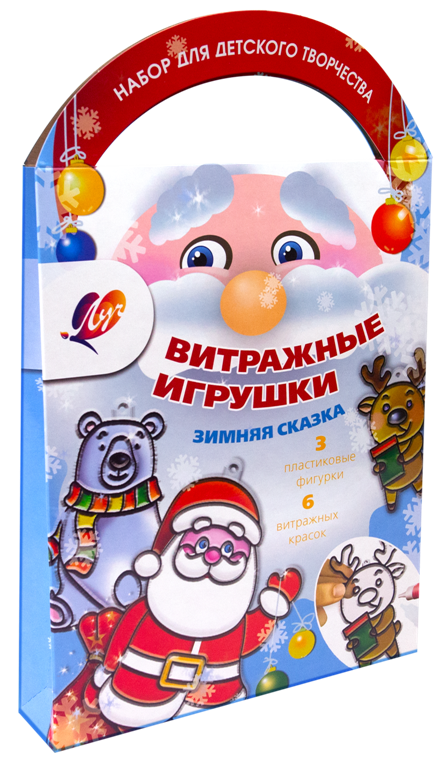 """Краски витражные с трафаретом """"Зимняя сказка"""""""