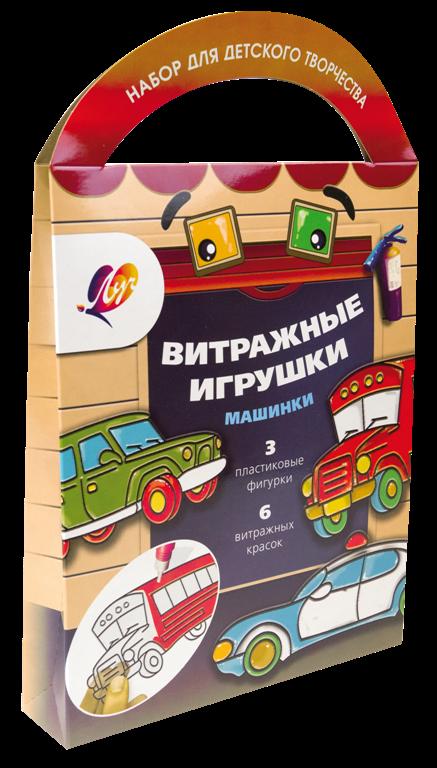 """Краски витражные с трафаретом """"Машинки"""""""