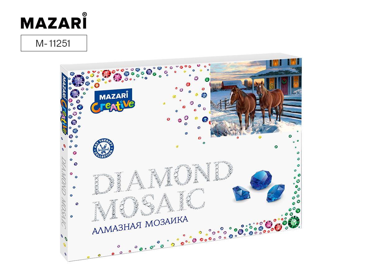 Алмазная мозаика полная выкладка 40*50см Два коня зимой