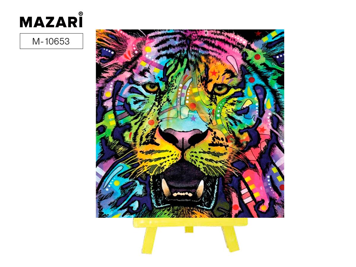 """Алмазная мозаика+мольберт 20*20см """"Радужный тигр"""" част.выкл."""