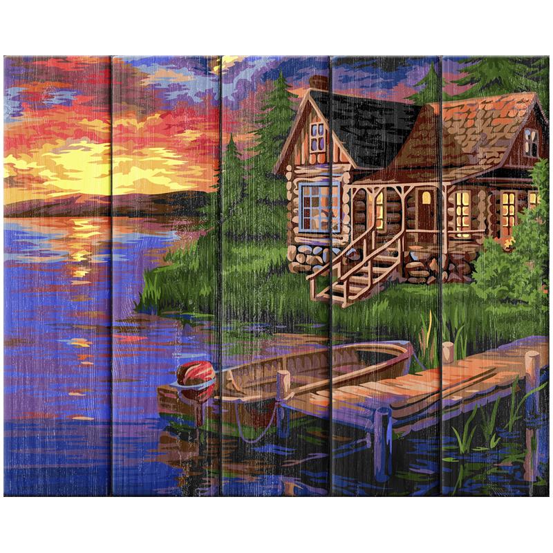 "Картина по номерам (дерево) 40*50 ""Вечерняя пристань"""
