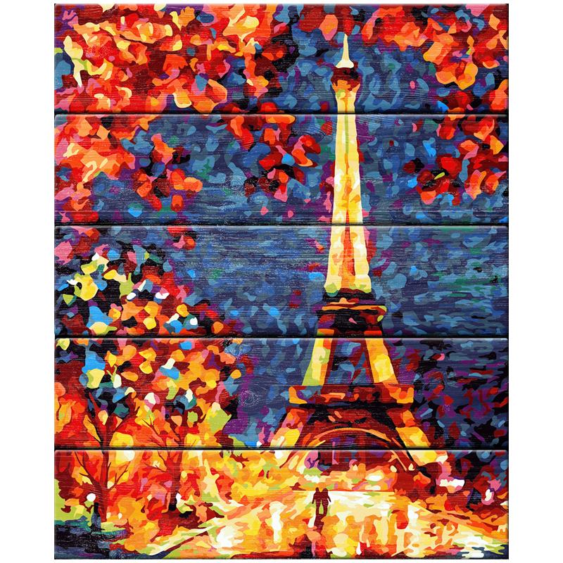 """Картина по номерам (дерево) 40*50 """"Цветы в Париже"""""""