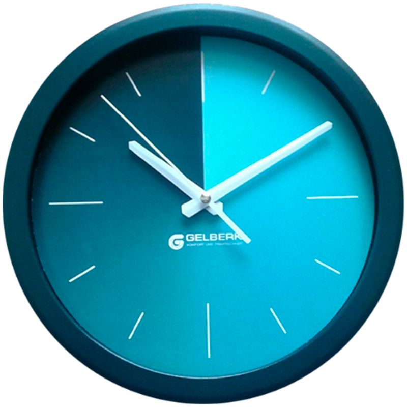 Часы настен. Gelberk круглые 28см голубой