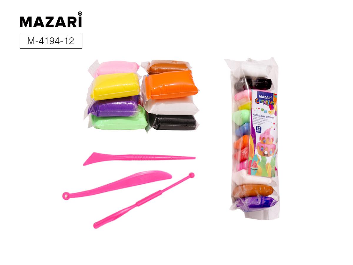 Масса для лепки 12цв. Mazari + 3 стека в комплекте