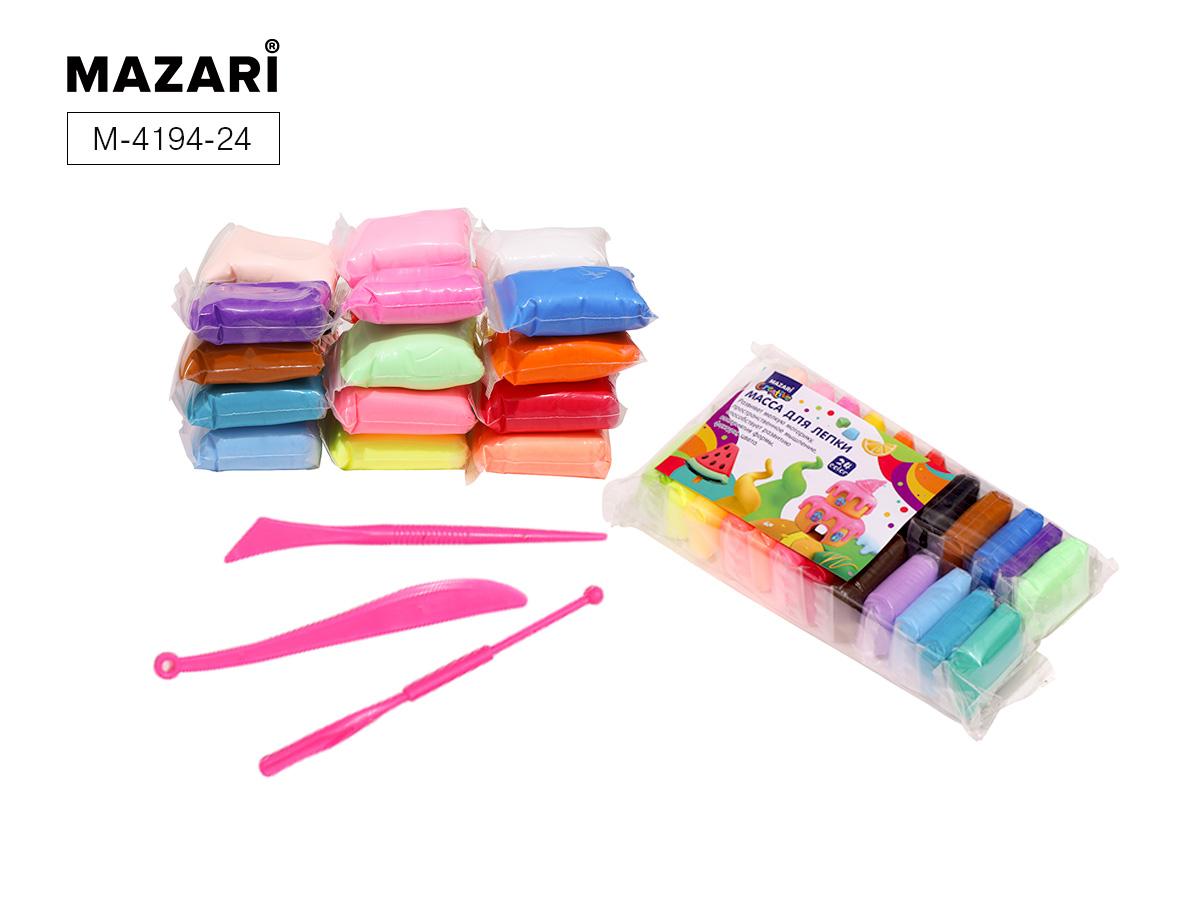 Масса для лепки 24цв. Mazari + 3 стека в комплекте