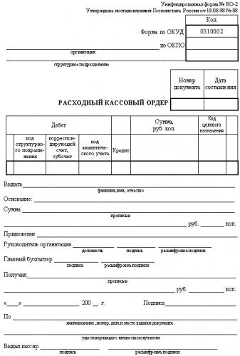 Бланк Расходно-кассовый ордер (100шт)