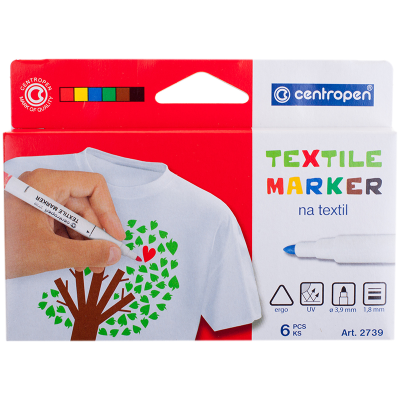 Маркеры д/ткани 6цв Centropen Textil Marker 1,8мм