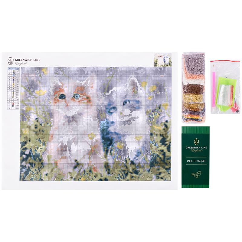 Алмазная мозаика Greenwich Line 30*40 Котята в цветах