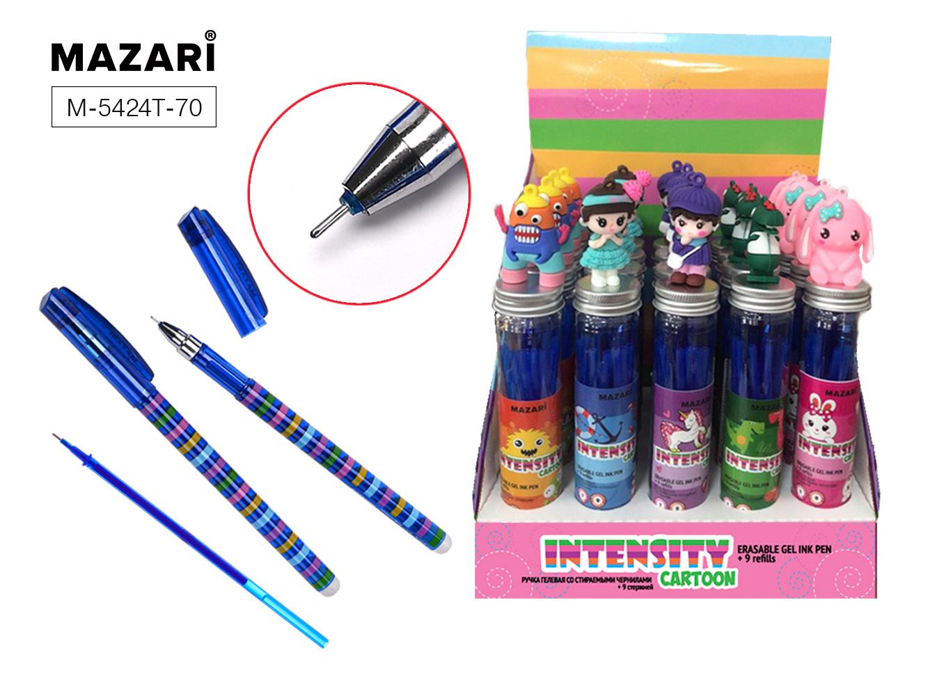 Ручка коррект. гел. Mazari Intensity 0,5мм игол.нак. син.+9стержней