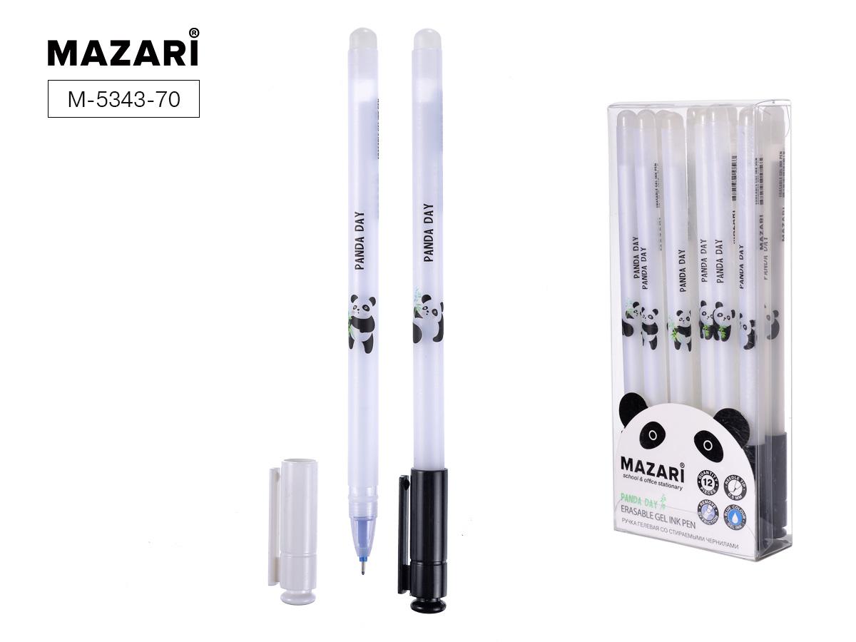 Ручка коррект. гел. Mazari Panda Day 0,5мм игол.нак. син.