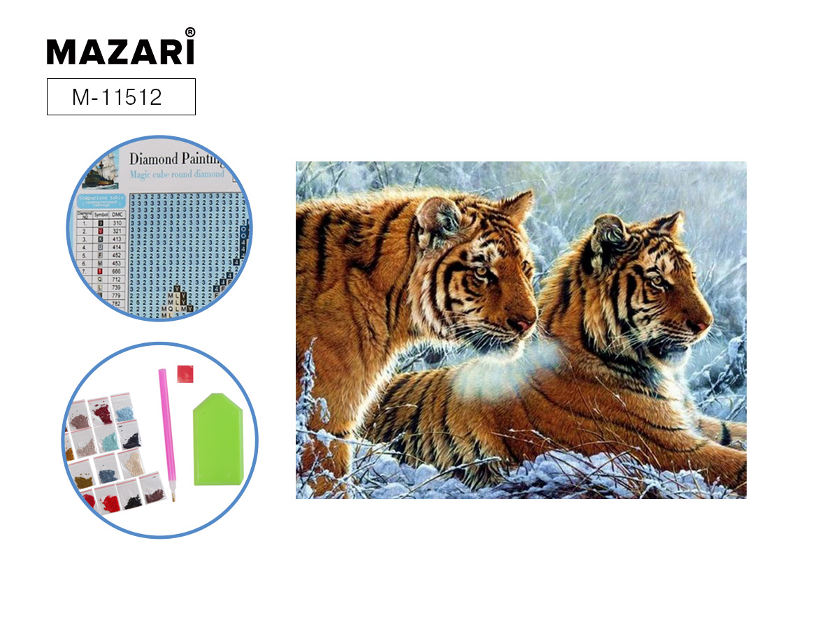 Алмазная мозаика 25*30см Тигры