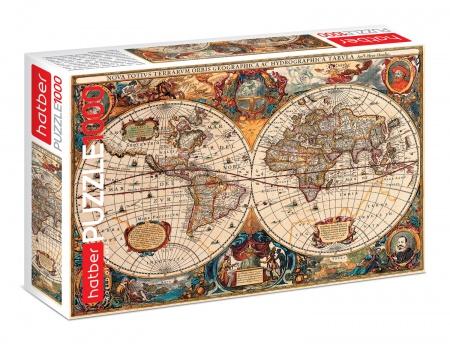 """Пазл 1000 эл. 680*480мм Хатбер """"Старинная карта мира"""""""
