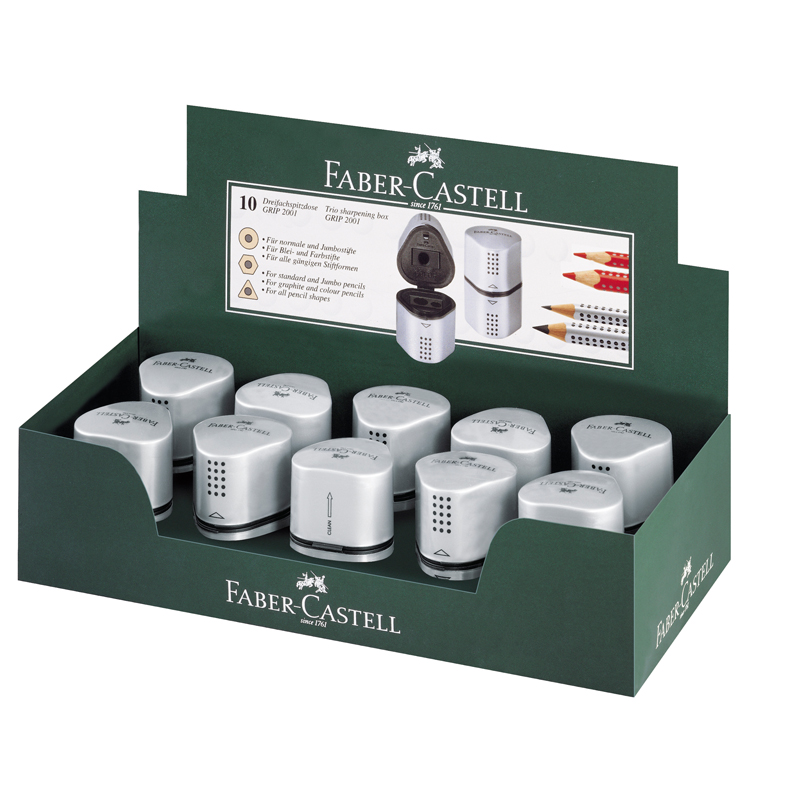 Точилка Faber-Castell 3отв. Trio Grip 2001 пласт. 2контейнера серебряная