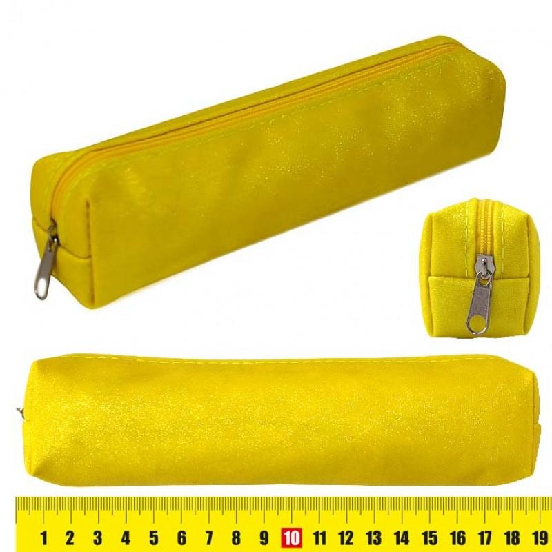 "Пенал мягкий J.Otten 19*4,5*3см ткань ""Флюо"" желтый с блестками"
