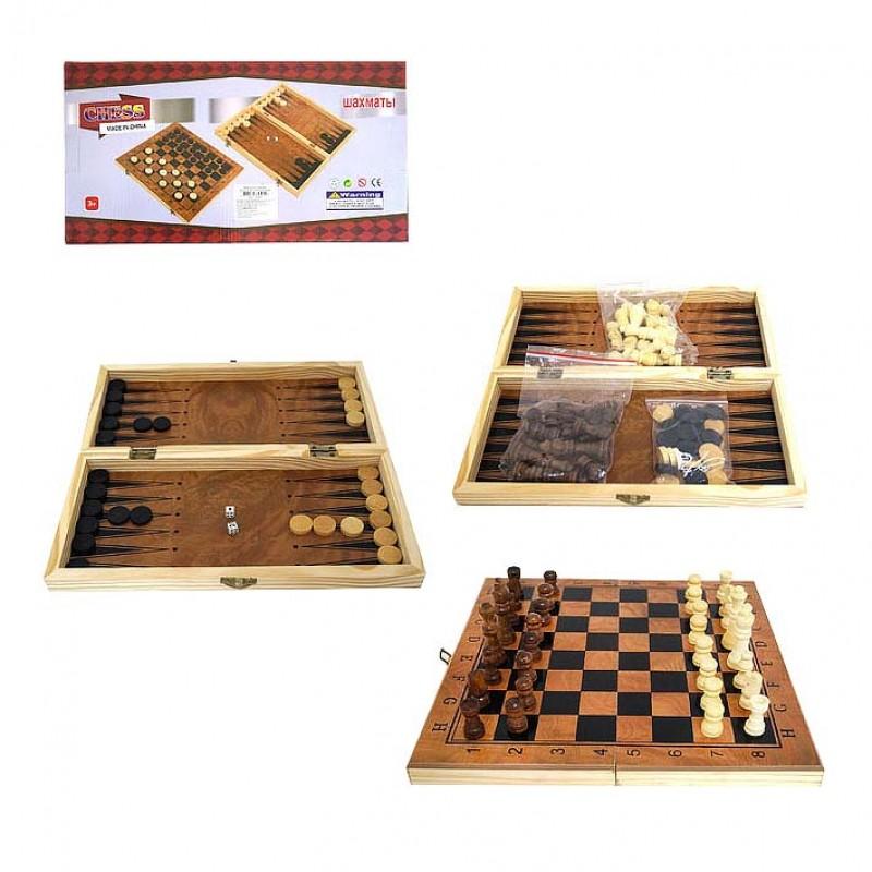 Игра настольная 3в1 (шахматы, шашки, нарды) 40*20см дерево