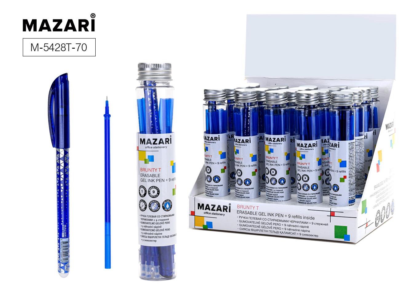Ручка коррект. гел. Mazari Brunty 0,5мм игол.нак. син.+9стержней
