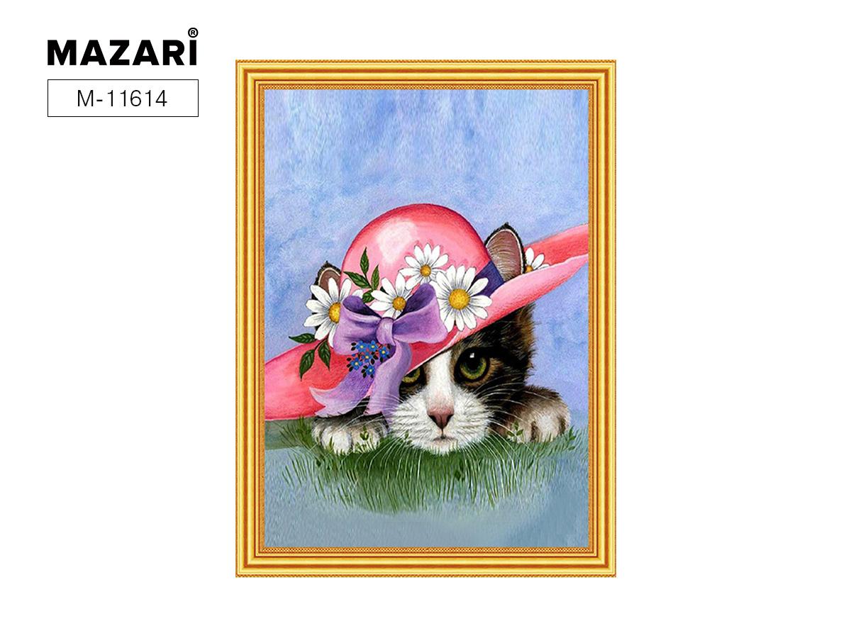 Алмазная мозаика и картина по номерам 30*40см Котенок в шляпе