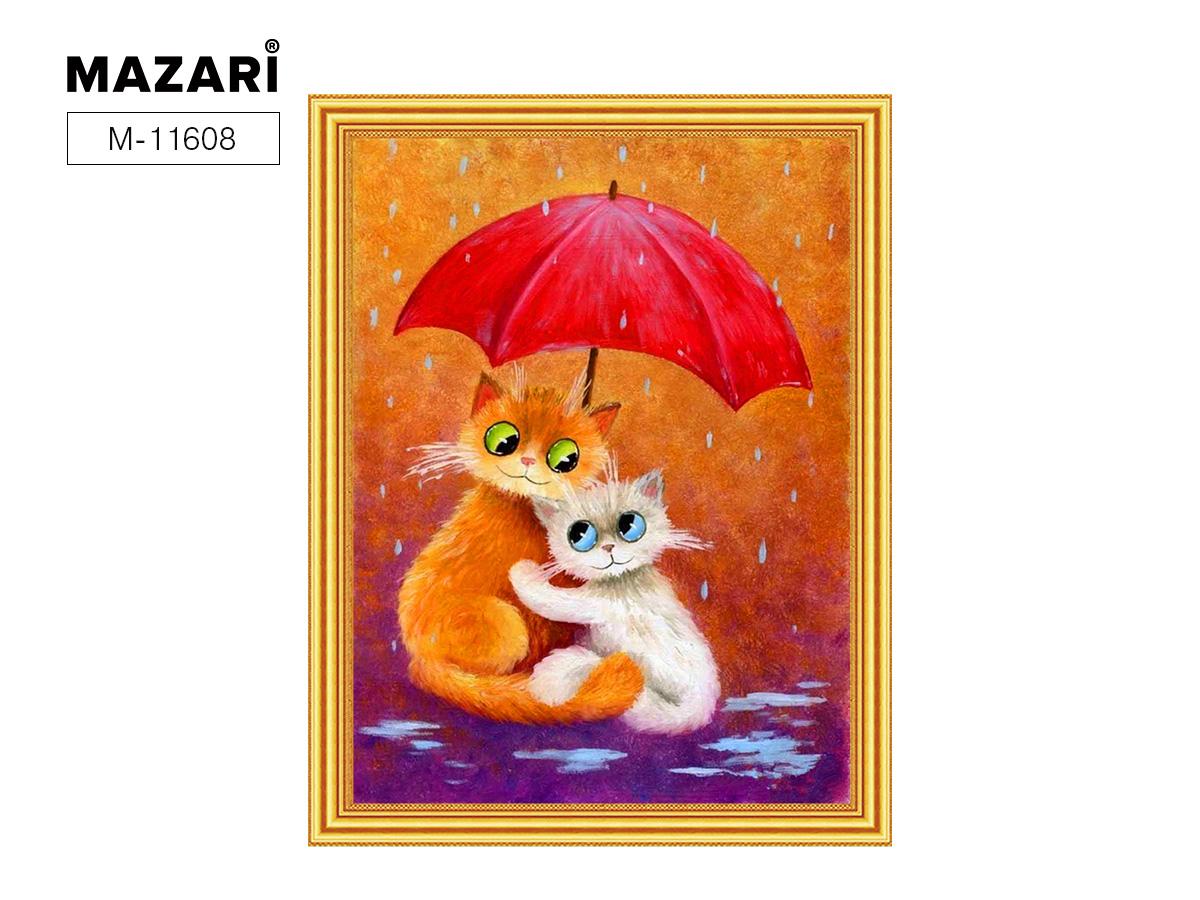 Алмазная мозаика и картина по номерам 30*40см Котики под зонтиком