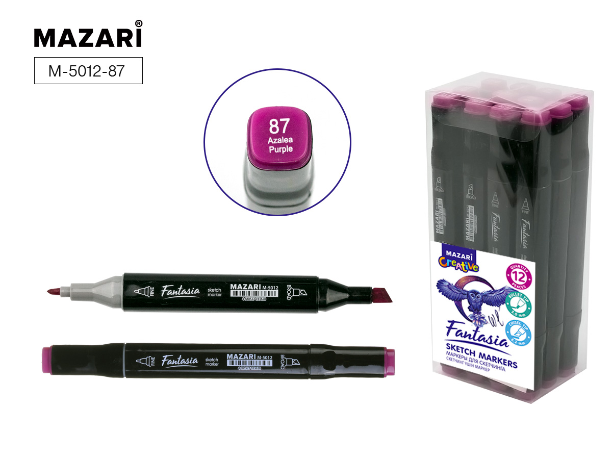 Маркер д/скетчинга двустор. 3,0-6,2мм Fantasia azalea purple