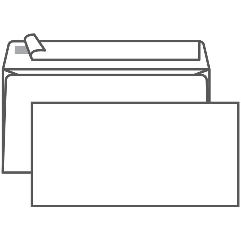 Конверт DL (110*220) белый с отр. полосой