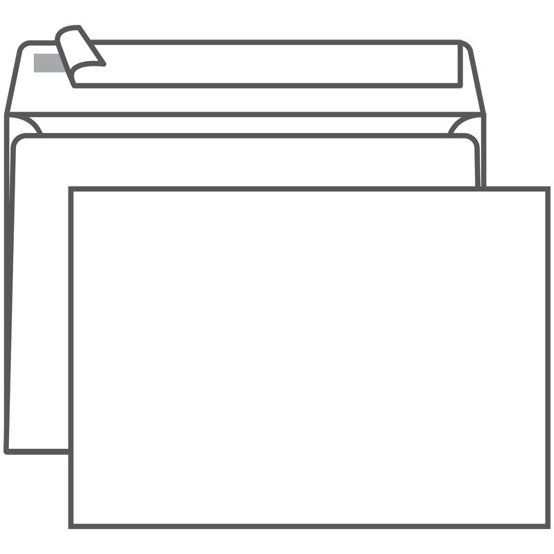 Конверт С5 (162*229) белый с отр. полосой