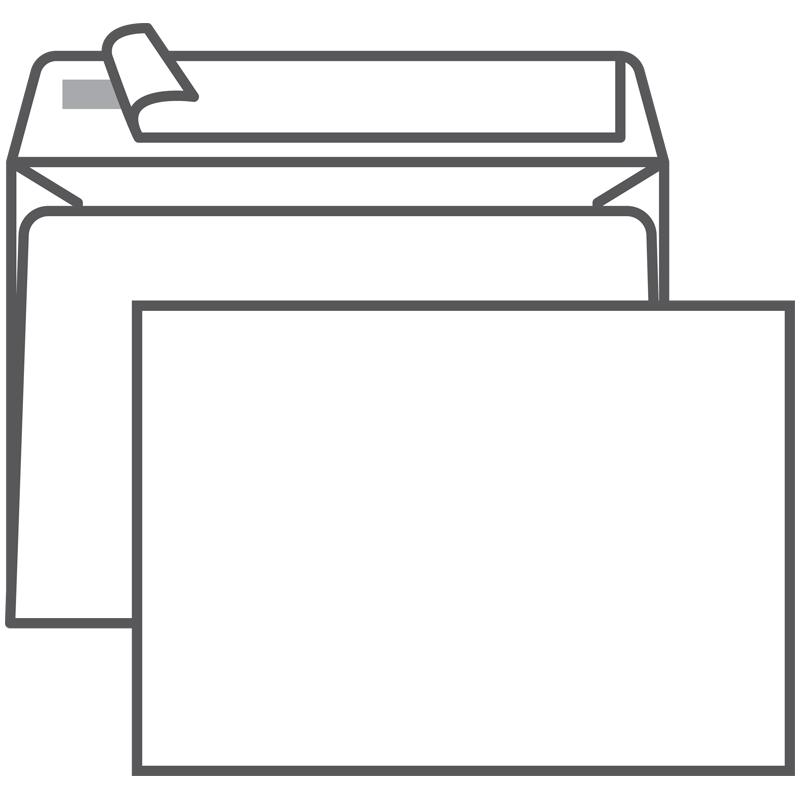 Конверт С6 (114*162) белый с отр. полосой