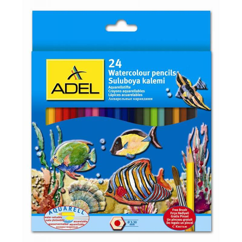 Карандаши акварельные 24цв. Adel Aquacolor + кисточка к/у