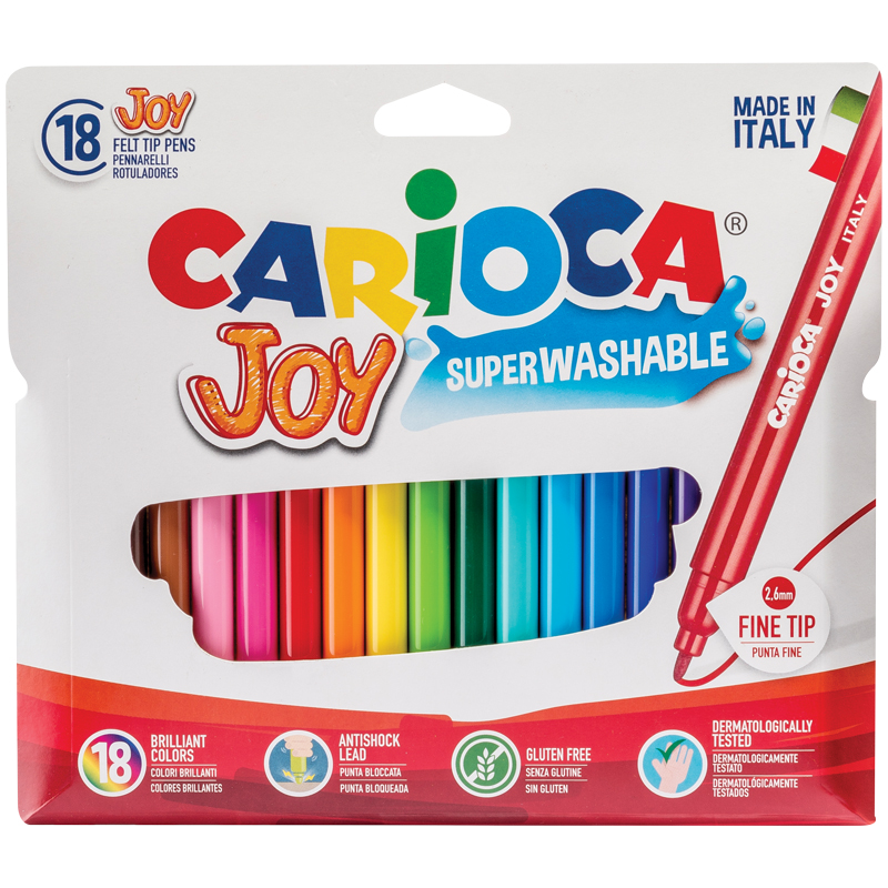 """Фломастеры Carioca 18цв. """"Joy"""" карт.футляр"""
