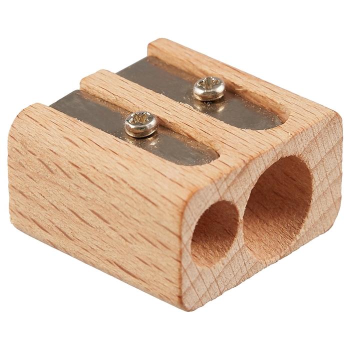 Точилка Index деревянная двойная