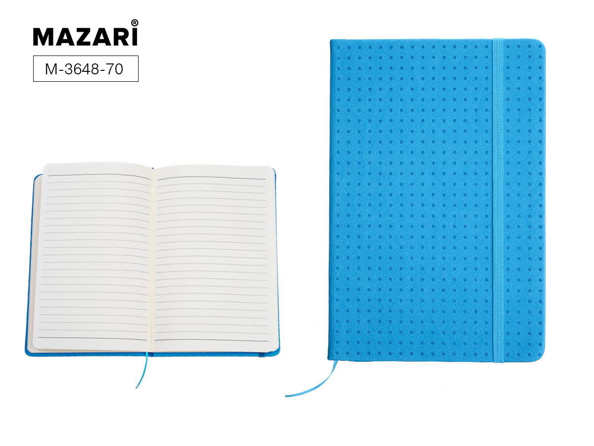 Бизнес-блокнот А5 72л Mazari Point синий тв. обл.под логотип на резинке